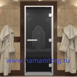 Дверь для хамама стекло черный жемчуг серия стандарт